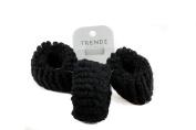 Mytoptrendz® Set Of 3 Black Soft Fabric Donut Hair Band Scrunchie Hair bobble Ponytail Holder