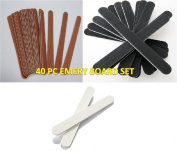 LR Supplies - 40 Assorted Emery Boards Nail File Set Nails Manicure Pedicure Board Art Files
