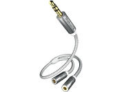 Inakustik Premium MP3 Earphones Stereo Audio 3.5 mm Jack Y Adapter 2 x 3.5 mm Jack Female to 3.5 mm Jack Plug