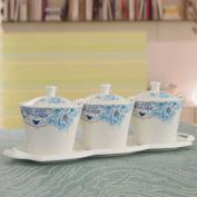 Korean ceramic Spice jar/[Seasoning bottle box]/spice jars-box/salt shaker set/kitchen supplies-C