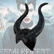 Halloween Fancy Dress Cosplay Latex Maleficent Hat Horns Evil Black Queen Headpiece Headwear, Eco-friendly latex, Perfect for Masquerade Parties, Gifts, Costume Parties