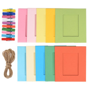 Shappy 20 Pieces Paper Photo Frame Picture Mats with 20 Pieces Mini Wooden Clips and 2 Pieces Twines, Multicolor, 42 Pieces