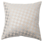 Best Home Fashion Large Houndstooth Metallic Foil Velvet pillow - Insert Not Included - Silver - 46cm W x 46cm L -