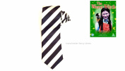 130cm Length Black White Striped Tie Mildred Hubble Worst Witch Fancy Dress Adult or Child
