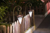 Winsome House WXE0057 Set of 2 Tapered Solar Lights with Fence Hook Attachment