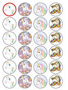 24 Unicorn Edible Wafer Paper Cup Cake Toppers
