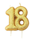 Anniversary House Gold Glitter Numeral Moulded Cake Candle - No 18