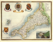 Cornwall Reproduction Antique Map, Retro Reproduction Cornwall Map, Thomas Moule Maps