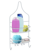 BATHROOM SHOWER CADDY WHITE TOILETRY HOLDER RUST PROOF RACKS HOOKS BASKET PEGS