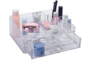 BathSense Acrylic Collection Bathroom Vanity Top Makeup & Jewellery Organiser with 12 Storage Compartments, Transparent