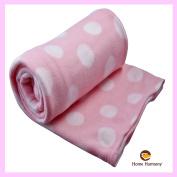 Baby Pink Polka Dot 130cm x 160cm Throw Flecce Blanket