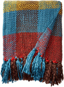 Cross Woven Throw Blanket in Bright, Fun Colours with Tasselled Ends 150cm x 130cm By Battilo Inc