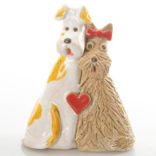 Red Heart | Love | 2 Cute Dogs | Ceramic quirky Ornament | Gift For a Dog Lover