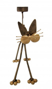 Cat Shaped Steel Candle/ Tea- Light Holder Gold Colour Hand- Made In Bali 30 cm high