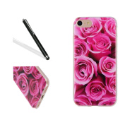 iPhone 7 Silicone Case,iPhone 7 Tpu Case,Leeook Clear Slim Fit Soft Flexible Elegant Rose Flower Pattern Gel Bumper Transparent Rubber Protective Back Case Cover for iPhone 7 12cm + 1 x Free Black Stylus-Rose Flower