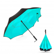 WloveTravel Inverted Double Layer Waterproof Reverse Folding Umbrella, Self-Standing Upside-Down Travel Umbrella