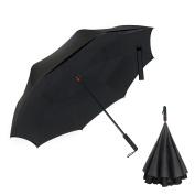 WloveTravel Inverted Double Layer Waterproof Reverse Folding Umbrella, Self-Standing Upside-Down Travel Umbrella