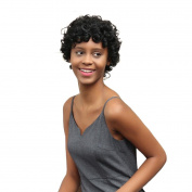 Alonea Women Short Black Brown FrontCurly Hairstyle Human Hair Wigs For Black Women