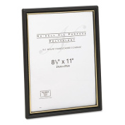 Nu-Dell - EZ Mount Document Frames, Plastic, 8-1/2 x 11, Black, 18/Pack - Sold As 1 Pack - Frame has gold accents.