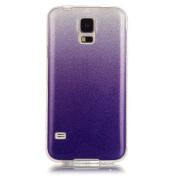 Moonmini Gradient Colour Sparkling Glitter Ultra Slim Fit Soft TPU Phone Back Case Cover for Samsung Galaxy S5 i9600 - Purple