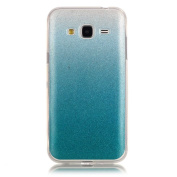 Moonmini Gradient Colour Sparkling Glitter Ultra Slim Fit Soft TPU Phone Back Case Cover for Samsung Galaxy J3 (2015) - Sky-blue