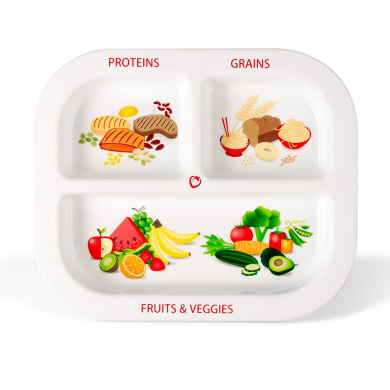 Healthy Habits Divided Kids Portion Plate, 3 Fun & Balanced Sections for Picky Eaters: Fruits & Veggies, Grains, and Protein