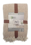 Como Throw 228 x 254 cm Large Sofa, Chair and Bed Decorative Throwover, Brown Beige .