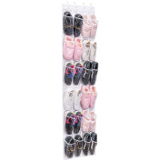 24 Pockets Over the Door Shoe Storage, MaidMAX Hanging Organiser Shoe Racks Foldable Wardrobes Storage Bag with Hooks, White