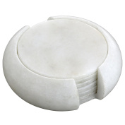 Handmade Indian White Marble Stone Drink Coaster Set - Includes 6 Round Coasters and Matching Holder - Home Decor Gifts