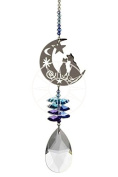 New Large Crystal Fantasy Hanging Suncatcher/Rainbow Maker + 50mm Almond - TWO CATS IN THE MOON