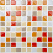 Tic Tac Tiles® - High Quality Anti-mould Peel and Stick Wall Tile in Square Vanillaorange