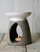 Large Grey Ceramic Oil Burner Height 13 cm - with Gift Box