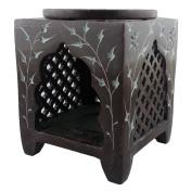 Plum Elven Square Jali Soapstone Essential Oil Burner / Aromatherapy Oil Burner - Medium
