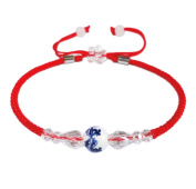 BrightTea Handmade Braided Lucky Rope Strap Lucky red rope Blue and white porcelain Jade beads Chinese Feng Shui