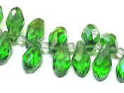 10 beads - Faceted teardrop shape green peridot colour shiny crystal glass beads - AB065
