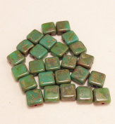 50 Czech Pressed Square beads (7mm) Turquoise Opaque with Picasso. One hole. Jewellery Making, Beading
