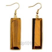 Natural Gemstone 18k Gold Plated Sliced Healing Reiki Chakra Pendant Earrings