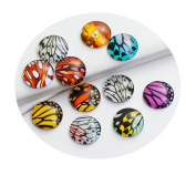"Best Wing ""12mm Butterfly Wing Printed"" Round Circle Glass Dome Seals Cabochon Flat Back"