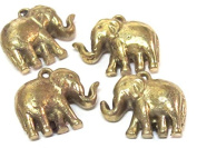 1 Pendant - Ethnic solid brass antiqued look elephant pendant from Nepal small size - CP119