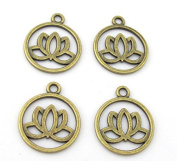 4 charms - Tibetan Lotus flower brass tone light weight metal charms - CM102s