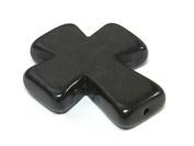 1 Bead - Black colour howlite cross bead 36 mm x 30 mm - GM421