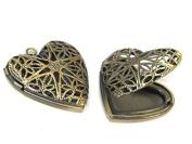 2 pendants - Heart shape antiqued brass tone filigree locket charm pendants - 26 mm x 26 mm - PM547