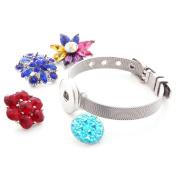 Ginooars 2pcs Stainless Steel Snap Bracelets with 4pcs 18-20MM Rhinestones Snap Charms Snap Button Jewellery