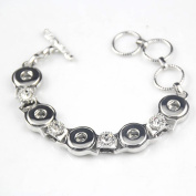 Ginooars 2pcs of 5-Snaps 12mm Snaps Bracelet with 10pcs 12mm Snaps