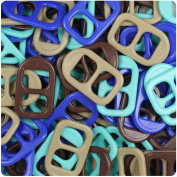 BEADTIN Blue & Tan Mix Opaqye 25mm Plastic Soda Pop Tabs