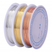 eBoot 3 Pieces 0.4 mm Tarnish Resistant Bare Copper Wire Jewellery Beading Wire Roll for Crafts Beading Jewellery Making