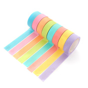 ACTLATI 10 Rolls Sweet Candy-coloured Tape Decorative Washi Rainbows Masking Rolled Paper for Scrapbooking Journaling Cards Arts & Gift Wrap Crafts DIY Works