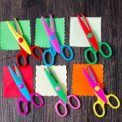 Chris.W 6Pcs Kids Safety Scissors Paper Decorative Wave Lace Edge Cutters Set for Scrapbook Crafts, Photo Album Decor and Greeting Gift Cards, 13cm , Multi-Coloured