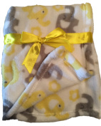In-Obeytions Cuddly Soft Plush Fleece Baby Blanket, White with Grey and Yellow Elephants, 80cm x 80cm