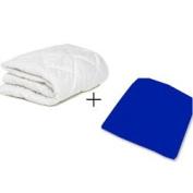 aBaby Round Crib Mattress Protector and Sheet Combo, Royal Blue